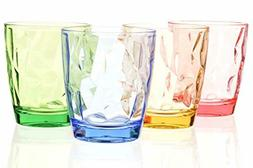 Drinking Glasses Set Acrylic Glassware for Kids 11oz Colored