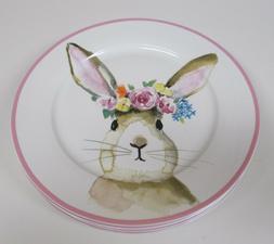 Ciroa Easter Bunny Rabbit Pink Floral 8 Porcelain Dinner Pla