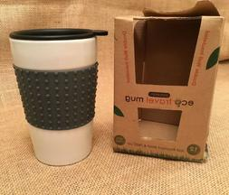 ECO CERAMIC 12 oz TRAVEL MUG w SILICONE SLEEVE LID tea coffe