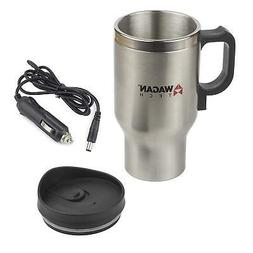 Wagan EL6100 12V Stainless Steel 16 oz Heated Travel Mug wit