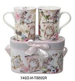 Lightahead® Elegant Bone China Two Coffee Tea Mugs set in C