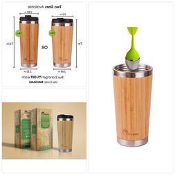 Elegant Reusable Bamboo Eco Travel Mug - Thermos for Coffee