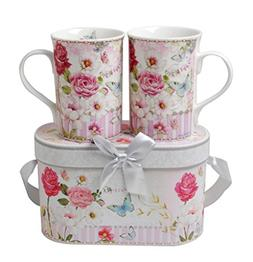 Lightahead Elegent Bone China 2 Coffee Tea Mugs set floral D