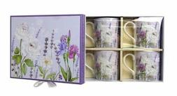 Elegent Bone China Coffee Mug set of 4, in a reusable handma