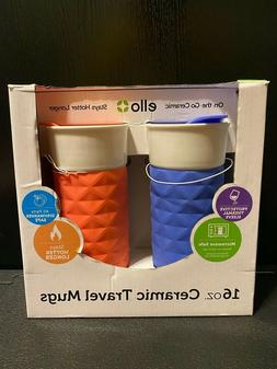 Ello On-the-Go 16oz Ceramic Travel Mugs, Denim & Coral