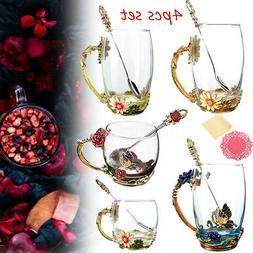Enamel Glass Flower Tea Cup Coffee Mug Cups + Spoon Set Box