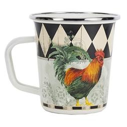 Enamelware - Rooster Royale Pattern - 16 Ounce Latte Mug