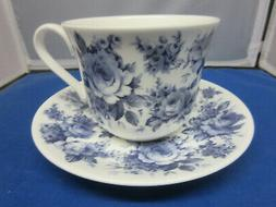 ENGLISH BLUE fine bone china BREAKFAST CUP SAUCER Made  Engl