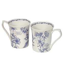 English Bone China Mug Set of 2 Garden Mugs - Gift Box