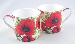 English Fine Bone China Mugs - Poppy Chintz - Set of 2 - 12