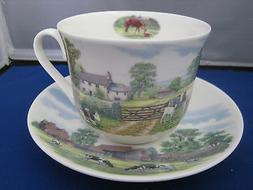 ENGLISH COUNTRY SCENE BONE CHINA  BREAKFAST CUP SAUCER KIRKH