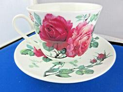 ENGLISH ROSE  BREAKFAST CUP SAUCER KIRKHAM Fine Bone China.