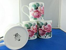ENGLISH ROSE set FOUR  FINE BONE CHINA mugs Made In England