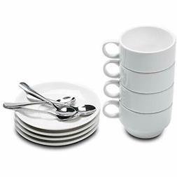 Aozita Espresso Cups and Saucers with Espresso Spoons, Stack