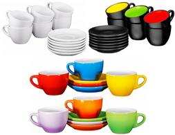 Bruntmor Espresso Cups and Saucers Set of 6 Tea Coffee Serve