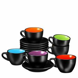 Bruntmor Espresso Cups and Saucers Set of 6 Serveware 6 Ounc