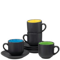 12-Piece Espresso Cups with Saucers and Spoons, 6oz Demitass