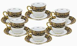 Euro Porcelain 12-pc. Tea Cup Coffee Set, Vintage Cobalt Blu