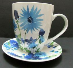 Pfaltzgraff Everyday Large Mug and Saucer White with Blue Fl