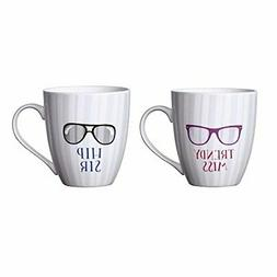 Pfaltzgraff Everyday Mug, Hip Sir and Trendy Miss, 18-Ounce,