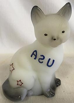 Fenton Art Solid Sitting Cat Airbrushed & Sand Carved *Ameri