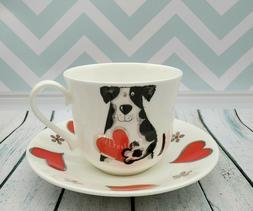"Roy Kirkham Fine Bone China Breakfast Cup and Saucer ""Love M"
