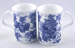 Fine Bone China Mugs - Set of Two - Blue Rose Chintz - Roy K