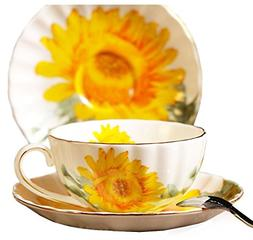 Fine Bone China Sunflower Vintage Chintz Porcelain Coffee Mu