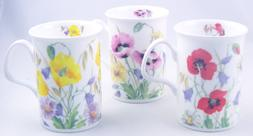 Fine English Bone China Mugs - Set of Three - English Meadow
