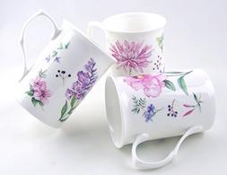 Fine English Bone China Mugs - Set of Three - Meadow Flowers
