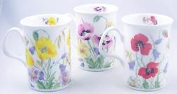 Fine English Bone China Mugs - Set of Three - English Meadow