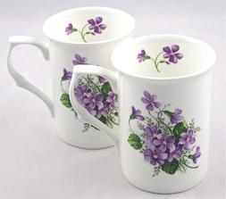 Fine English Bone China Mugs - Set of Two - Wild Violet Spra