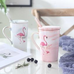 """Flamingo"" 1pc Ceramic Mug Cup with Lid Spoon Coffee Teal Mi"