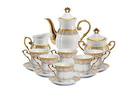 Euro Porcelain 17-Pc. Fleur-de-Lis Tea Cup Coffee Set, Premi