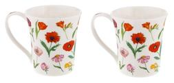 Dunoon Flora Red MUG Jura shape  Set of 2  Fine Bone China E