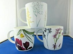 FLORAL B  set THREE  10oz FINE BONE CHINA mugs Made In Engla