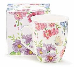 Floral Bouquet White Porcelain Mug with Matching Gift Box