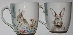 Ciroa Easter Floral Bunny Coffee Mugs - Set of 4-2 of Each D