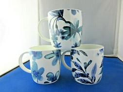 FLORAL set THREE  10oz FINE BONE CHINA mugs Made In England