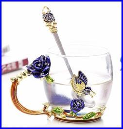 Flower Glass Tea Cups Handmade Cup Coffee Mug Unique Persona