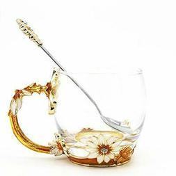 Flower Tea Cups, Unique Coffee Mugs, Glass Mug with Spoon Se