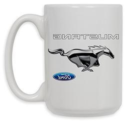Art Plates Ford Mustang Chrome Pony Ceramic Coffee Mug, Blac