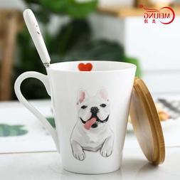 French Bulldog Porcelain <font><b>Mug</b></font> With Wood C