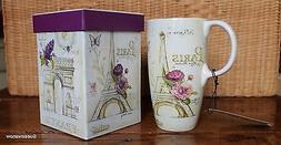 French Lilacs Ceramic Coffee Tea 17oz Cup w/ matching Gift B