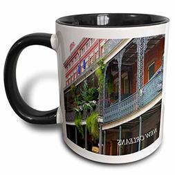 "3dRose mug_43748_4 ""French Quarter New Orleans"" Two Tone Bla"