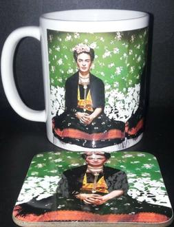frida kahlo ceramic coffee mug cup set with coaster