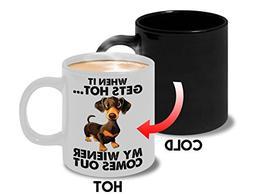 Funny Dog Color Change Coffee Mug, Heat Sensitive Novelty Ru