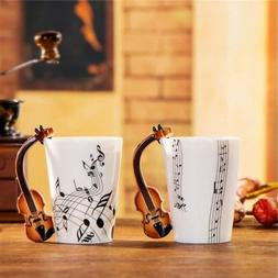 Novelty Guitar Personality Music Note Cup Ceramic Coffee Tea