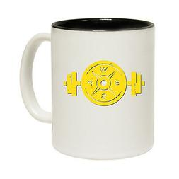 Funny Mugs SWPS Yellow Logo Weight Plate and Bar Gym Work Ou
