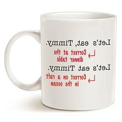 Funny Punctuation Grammar Coffee Mug, Unique Office Christma